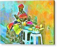 Caribbean Scenes - De Fruit Lady Acrylic Print