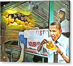 Caribbean Scenes - Obama Eats Doubles In Trinidad Acrylic Print by Wayne Pascall
