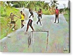 Caribbean Scenes - Small Goal In De Street Acrylic Print