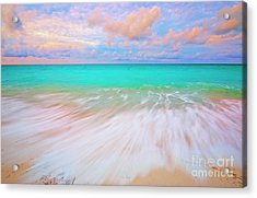Caribbean Sea At High Tide Acrylic Print by Charline Xia