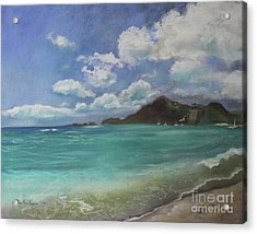 Acrylic Print featuring the pastel Caribbean Sea Day Antigua by Robin Maria Pedrero