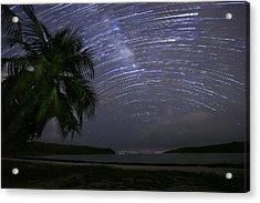 Caribbean Star Trails And Milky Way Acrylic Print by Karl Alexander