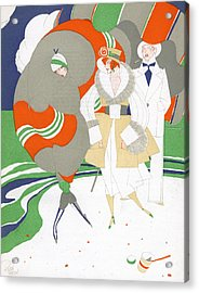 Caricature Of Flappers Wearing Furs Acrylic Print