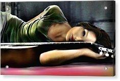Carla Bruni With Guitar Acrylic Print by Monica Magallon
