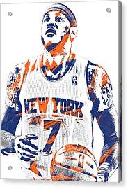 Carmelo Anthony New York Knicks Pixel Art 2 Acrylic Print by Joe Hamilton