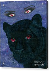 Acrylic Print featuring the painting Carmilla - Black Panther Vampire by Carrie Hawks