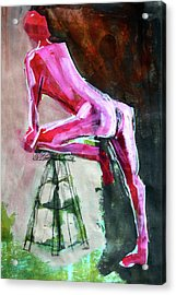 Acrylic Print featuring the painting Carmine Figure No. 3 by Nancy Merkle