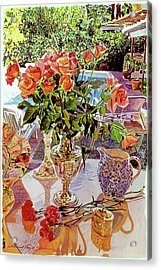 Carnations And Roses Acrylic Print