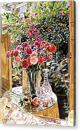 Carnations In The Window Acrylic Print by David Lloyd Glover