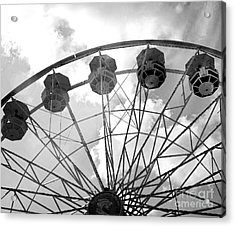 Acrylic Print featuring the photograph Carnival Ferris Wheel Black And White Print - Carnival Rides Ferris Wheel Black And White Art Prints by Kathy Fornal