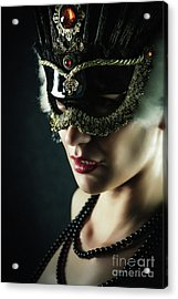 Acrylic Print featuring the photograph Carnival Mask Closeup Girl Portrait by Dimitar Hristov