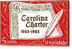 Carolina Charter 1963 U.s. Stamp Acrylic Print by Lanjee Chee