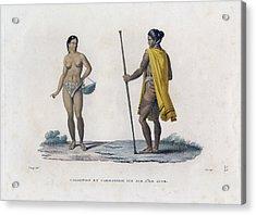 Acrylic Print featuring the drawing Carolinois Et Carolinoise Vue Sur Lile Guam by Jacques Arago
