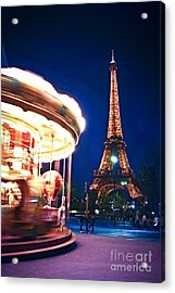 Carousel And Eiffel Tower Acrylic Print