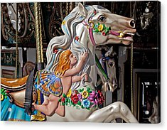 Carousel Horse And Angel Acrylic Print by Garry Gay