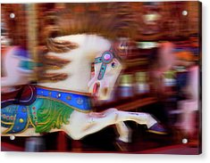 Carousel Horse In Motion Acrylic Print by Garry Gay