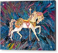 Carousel Horse With Dark Background Acrylic Print by Brenda Adams