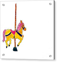 Carousel Pony Acrylic Print by Leah Wiedemer