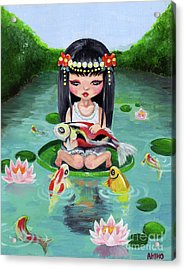 Carp And Girl Acrylic Print by Akiko Okabe