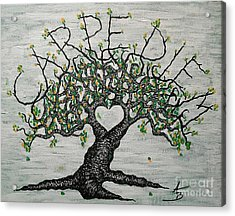 Acrylic Print featuring the drawing Carpe Diem Love Tree by Aaron Bombalicki
