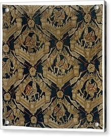 Textile Tapestry Carpet With The Arms Of Rogier De Beaufort Acrylic Print by R Muirhead Art