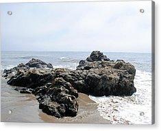 Carpinteria State Beach Rocks Acrylic Print by Bransen Devey