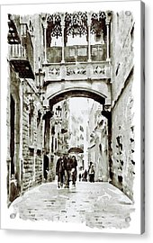 Carrer Del Bisbe - Barcelona Black And White Acrylic Print by Marian Voicu