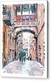 Carrer Del Bisbe - Barcelona Acrylic Print by Marian Voicu