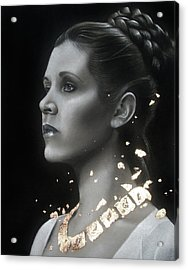 Carrie Fisher - Traditional Art Tribute Acrylic Print by Alaina Ferguson