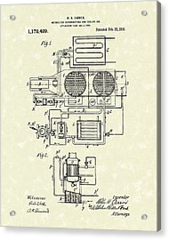 Carrier Air Conditioner 1916 Patent Art Acrylic Print