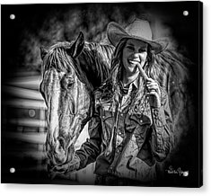 Carrots Cowgirls And Horses  Black Acrylic Print