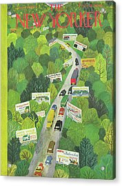 Cars Drive Down A Forest Highway Overrun With Billboards Acrylic Print