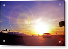 Cars On Freeway 4 - Evening Commute Acrylic Print by Steve Ohlsen