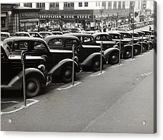 Cars Parked Diagonally Along Parking Acrylic Print by Everett