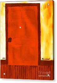 Carthage Jail Bullet Hole Door 15 Honoring Hyrum Smith Martyr Acrylic Print by Richard W Linford