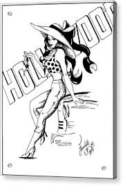 Cartoon Actress Acrylic Print by Scarlett Royal