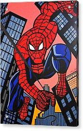 Cartoon Spiderman Acrylic Print by Nora Shepley