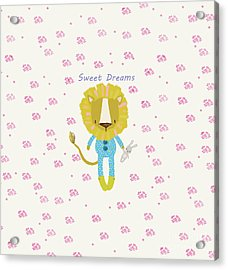 Cartoon Sweet Dreams Lion Acrylic Print
