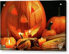 Carved Pumpkin With Candles Acrylic Print