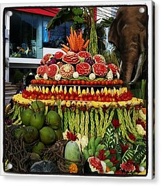 Acrylic Print featuring the photograph Carved Watermelon, Surin Elephant by Mr Photojimsf