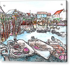 Carvers Harbour With Boats , Vinal Haven,  Maine Acrylic Print