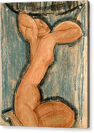 Caryatid Acrylic Print by Amedeo Modigliani