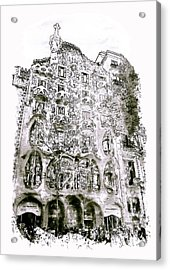 Casa Batllo Barcelona Black And White Acrylic Print by Marian Voicu