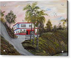 Casa En Montanas De Cerro Gordo Acrylic Print by Gloria E Barreto-Rodriguez