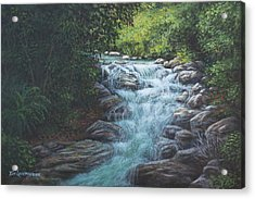 Acrylic Print featuring the painting Cascading Stream by Kim Lockman