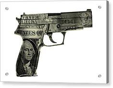 Cash Gun  Acrylic Print by Les Cunliffe