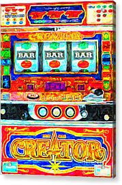 Casino Slot Machine . One Arm Bandit . Triple Bar Bonus Jack Pot Acrylic Print by Wingsdomain Art and Photography