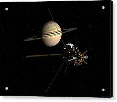 Cassini Closing In On Saturn Acrylic Print