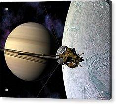 Cassini Passing Enceladus  Acrylic Print
