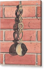 Cast Iron Welsh Love Spoon Acrylic Print by Ken Powers
